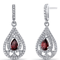 Garnet Chandelier Drop Rings Sterling Silver 1 Carats SE8648