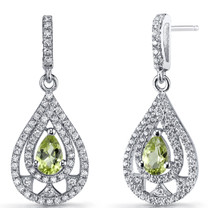 Peridot Chandelier Drop Earrings Sterling Silver 1 Carats SE8650