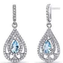 Swiss Blue Topaz Chandelier Drop Earrings Sterling Silver 1 Carats SE8652