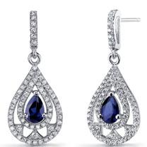 Created Blue Sapphire Chandelier Drop Earrings Sterling Silver 1 Carats SE8656