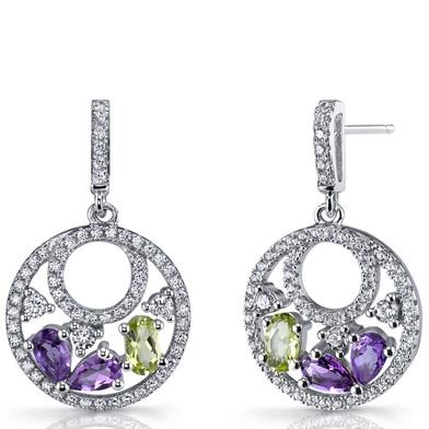 Amethyst and Peridot Sterling Silver Double Hoop Dangle Drop Earrings SE8666
