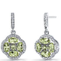 Peridot Clover Dangle Drop Earrings Sterling Silver 2.5 Carats SE8672