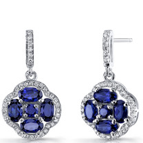Created Blue Sapphire Clover Dangle Drop Earrings Sterling Silver 2.5 Carats SE8678