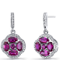 Created Ruby Clover Dangle Drop Earrings Sterling Silver 2.5 Carats SE8680