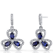 Created Blue Sapphire Trinity Earrings Sterling Silver 1.5 Carats SE8682