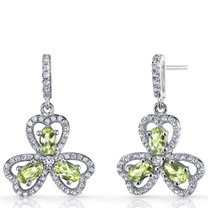 Peridot Trinity Earrings Sterling Silver 1.5 Carats SE8684
