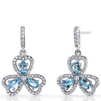 London Blue Topaz Trinity Earrings Sterling Silver 1.5 Carats SE8686