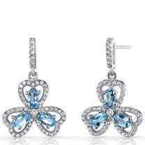 London Blue Topaz Trinity Earrings Sterling Silver 1.5 Carats SE8686