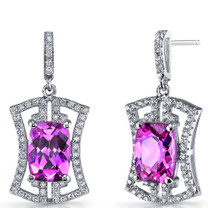 Created Pink Sapphire Art Deco Drop Earrings Sterling Silver 6.5 Carats SE8694