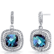 Simulated Alexandrite Cushion Cut Dangle Drop Earrings Sterling Silver 6 Carats SE8700
