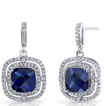 Created Blue Sapphire Cushion Cut Dangle Drop Earrings Sterling Silver 6 Carats SE8702