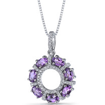 Amethyst Dahlia Pendant Necklace Sterling Silver 1.75 Carats SP11182