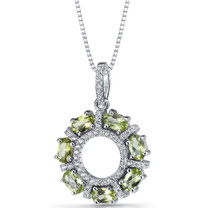 Peridot Dahlia Pendant Necklace Sterling Silver 1.75 Carats SP11186