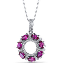 Created Ruby Dahlia Pendant Necklace Sterling Silver 1.75 Carats SP11194