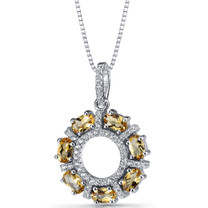 Citrine Dahlia Pendant Necklace Sterling Silver 1.75 Carats SP11196
