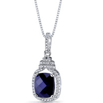 Created Blue Sapphire Halo Crown Pendant Necklace Sterling Silver 3.75 Carats SP11202