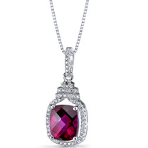 Created Ruby Halo Crown Pendant Necklace Sterling Silver 3.75 Carats SP11204