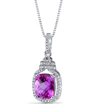 Created Pink Sapphire Halo Crown Pendant Necklace Sterling Silver 3.75 Carats SP11208