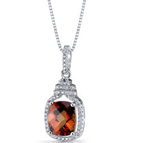 Created Padparadscha Sapphire Halo Crown Pendant Necklace Sterling Silver 4 Carats SP11210