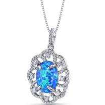 Created Blue Opal Victorian Pendant Necklace Sterling Silver 2.25 Carats SP11218