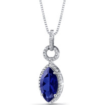 Created Blue Sapphire Marquise Pendant Necklace Sterling Silver 3.75 Carats SP11222