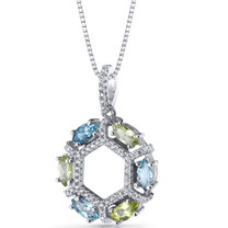 Swiss Blue Topaz and Peridot Hexagon Pendant Necklace Sterling Silver 1.5 Carats SP11234