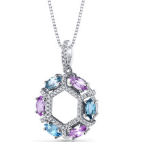 Created Pink Sapphire and Swiss Blue Topaz Hexagon Pendant Necklace Sterling Silver 1.5 Carats SP11236
