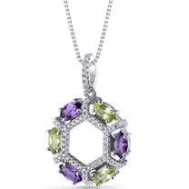 Amethyst and Peridot Hexagon Pendant Necklace Sterling Silver 1.5 Carats SP11238