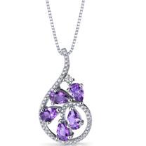 Amethyst Dewdrop Pendant Necklace Sterling Silver 1.25 Carats SP11240