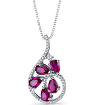 Created Ruby Dewdrop Pendant Necklace Sterling Silver 2.5 Carats SP11252