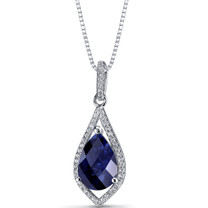 Created Blue Sapphire Teardrop Pendant Necklace Sterling Silver 3.75 Carats SP11256