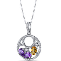Amethyst and Citrine Double Hoop Pendant Necklace Sterling Silver 1 Carats SP11280