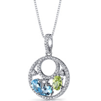 Swiss Blue Topaz and Peridot Double Hoop Pendant Necklace Sterling Silver 1.5 Carats SP11282