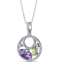 Amethyst and Peridot Double Hoop Pendant Necklace Sterling Silver 1 Carats SP11286