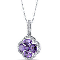 Amethyst Clover Pendant Necklace Sterling Silver 2.25 Carats SP11288
