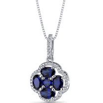 Created Blue Sapphire Clover Pendant Necklace Sterling Silver 2.25 Carats SP11298