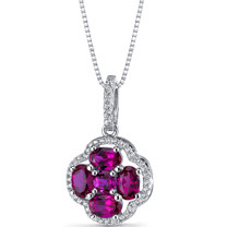 Created Ruby Clover Pendant Necklace Sterling Silver 2.25 Carats SP11300