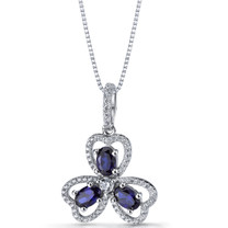 Created Blue Sapphire Trinity Pendant Necklace Sterling Silver 1.5 Carats SP11302