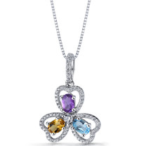 Amethyst Citrine Swiss Blue Topaz Trinity Pendant Necklace Sterling Silver SP11308