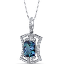 Simulated Alexandrite Art Deco Pendant Necklace Sterling Silver 3 Carats SP11312