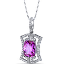 Created Pink Sapphire Art Deco Pendant Necklace Sterling Silver 4.5 Carats SP11314