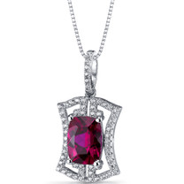 Created Ruby Art Deco Pendant Necklace Sterling Silver 4.75 Carats SP11316