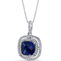 Created Blue Sapphire Cushion Cut Pendant Necklace Sterling Silver 4.25 Carats SP11322