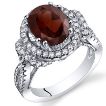 Garnet Gallery Ring Sterling Silver Oval Shape 3.25 Carats Sizes 5 to 9 SR11328