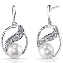 7.0mm Freshwater Cultured White Pearl Artemis Sterling Silver Earrings SE8708