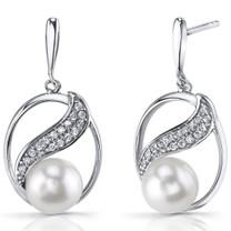 7.0mm Freshwater Cultured White Pearl Artemis Sterling Silver Earrings SE8708