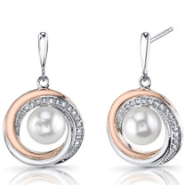Rose Goldtone 7.5mm Freshwater Cultured White Pearl Halo Sterling Silver Earrings SE8710