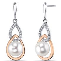 7.5mm Freshwater Cultured White Pearl Drop Earrings Rose Goldtone Sterling Silver SE8712