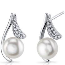 Sterling Silver 7.5mm Freshwater Cultured White Pearl Moonflower Earrings SE8720