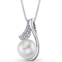Sterling Silver 10.00mm Freshwater Cultured White Pearl Moonflower Pendant Necklace SP11330